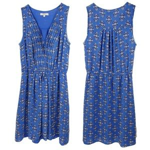 Madewell blue silk dress in floral woodcut